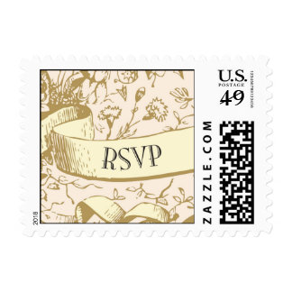 RSVP Banner with flowers Stamps