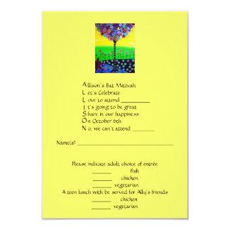 """RSVP Bat Mitzvah- Allison 3.5"""" X 5"""" Invitation Card"""