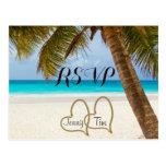 RSVP beach love hearts bridal palm sand surf date Postcard