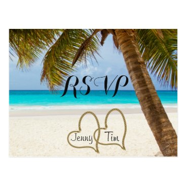 Valentines Themed RSVP beach love hearts bridal palm sand surf date Postcard