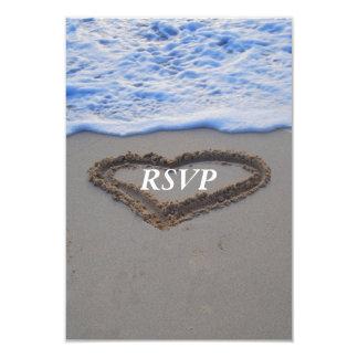 RSVP  Beach Wedding Heart in Sand 3.5x5 Paper Invitation Card