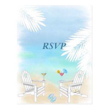 Beach Themed RSVP Beach Wedding Postcard
