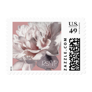 RSVP Beige Pink Peony 4 Small Wedding Postage