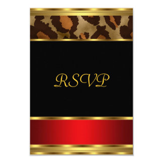 RSVP Birthday Party Gold Black Red Leopard Card