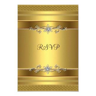 "RSVP Birthday Party Gold Diamond Jewel 3.5"" X 5"" Invitation Card"