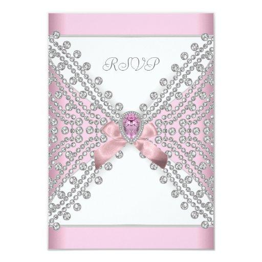 RSVP Birthday Party Pink Silver White Diamond 3.5x5 Paper Invitation Card