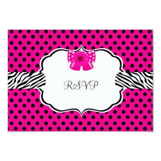 RSVP Birthday Party Pink Spot Zebra Pink Flower Card