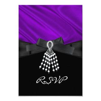 RSVP Birthday Party Purple Silk Jewel Black White 3.5x5 Paper Invitation Card