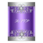 RSVP Birthday Party Purple Silver Diamond Card