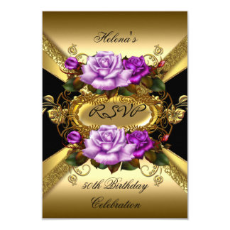 RSVP Birthday Party Roses Purple Gold Black Card