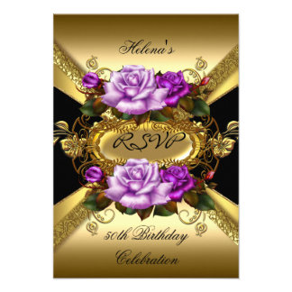 RSVP Birthday Party Roses Purple Gold Black Personalized Invite