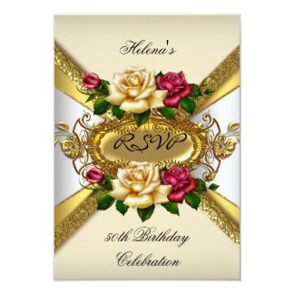 RSVP Birthday Party Roses Red Cream Gold 3 3.5x5 Paper Invitation Card