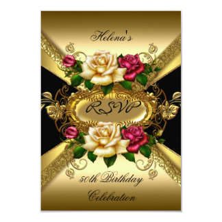 RSVP Birthday Party Roses Red Cream Gold 3.5x5 Paper Invitation Card