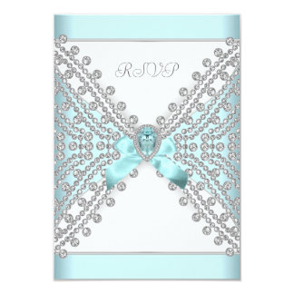 RSVP Birthday Party Teal Blue Silver White Diamond 3.5x5 Paper Invitation Card
