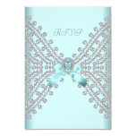 RSVP Birthday Party Teal Blue Silver White Diamond Announcement