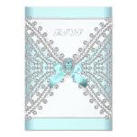 RSVP Birthday Party Teal Blue Silver White Diamond 3.5x5 Paper Invitation Card