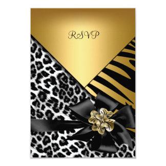 """RSVP Birthday Party Zebra Leopard Gold Elegant 3.5"""" X 5"""" Invitation Card"""