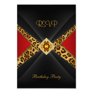 RSVP Birthday Red Gold Black Leopard Jewel Card