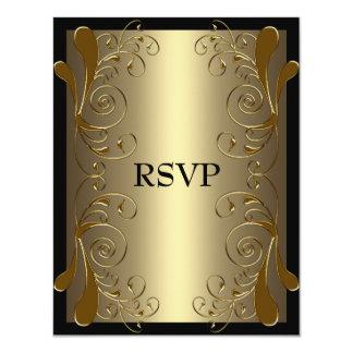 RSVP Birthday Very Black & Gold Floral Glam Card