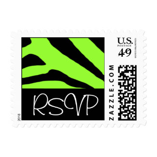 RSVP Black and Lime Zebra Customizable Postage
