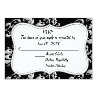 RSVP Black and Silver Damask 3.5x5 Paper Invitation Card