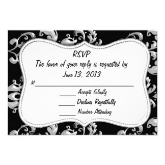 RSVP Black and Silver Damask Invitations