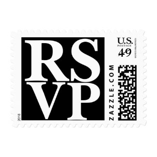 RSVP Black And White Formal Wedding Invitation Postage Stamp