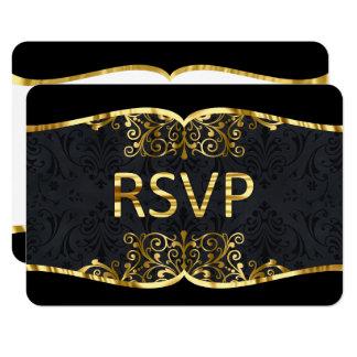 RSVP Black Gold Damask Elegant Wedding Invitation