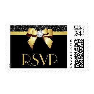 RSVP Black Sequins Gold Bow Postage