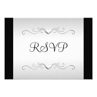 RSVP Black Silver Love Hearts All Events Custom Announcements