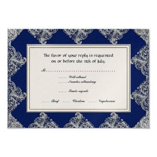 RSVP Black Tie Elegance 3 - Silver Vintage Damask 3.5x5 Paper Invitation Card