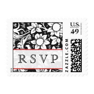 rsvp black & white floral damask wedding postage