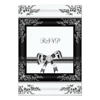 RSVP Black White Lace Floral Diamond 3 Invitation
