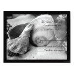 rsvp blanco del bw de la arena de los seashells invitación 10,8 x 13,9 cm