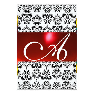 Rsvp blanco rojo del MONOGRAMA de la GEMA del Invitaciones Personalizada