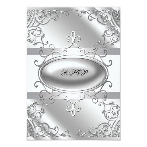 """RSVP blanco y de plata elegante Invitación 3.5"""" X 5"""""""
