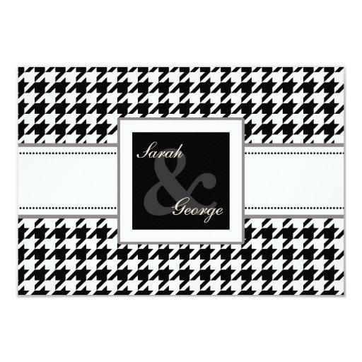 rsvp blanco y negro 3,5 x 5 del boda del comunicado personalizado