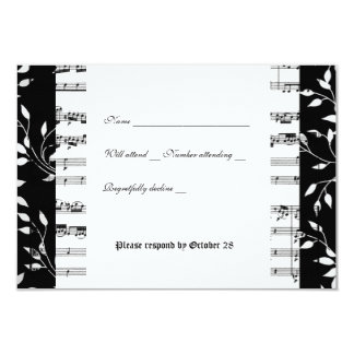"""Rsvp blanco y negro de la música de Mozart con el Invitación 3.5"""" X 5"""""""