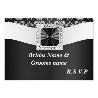 Rsvp blanco y negro del damasco invitación personalizada