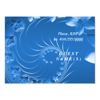 RSVP - Blue Abstract Flowers Card