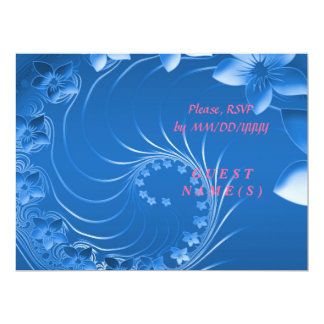 RSVP - Blue Abstract Flowers 6.5x8.75 Paper Invitation Card