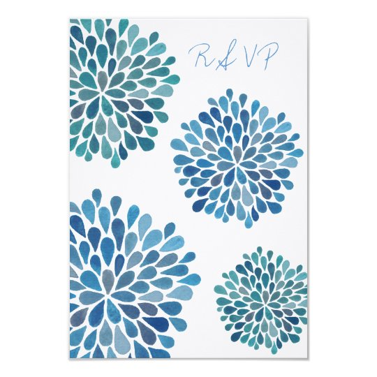 RSVP Blue Floral Blooms Wedding Card