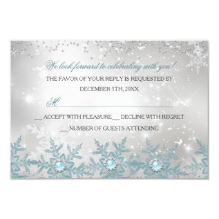 Rsvp Blue Pearl Snowflake Christmas Party Card at Zazzle