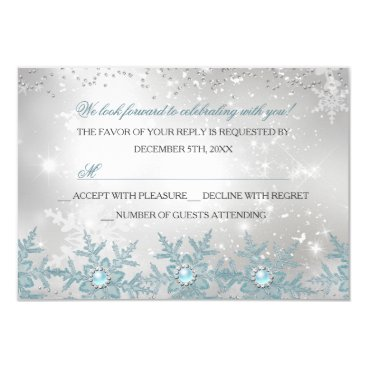 Christmas Themed RSVP Blue Pearl Snowflake Christmas Party Card