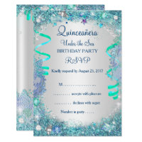 Sweet 15 invitations announcements zazzle rsvp blue under the sea quinceanera 15th birthday solutioingenieria Images