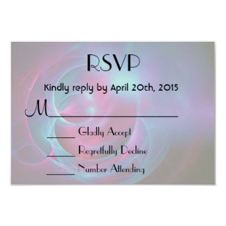 RSVP Blue Violet and Pink Cosmic Swirly Fractal 3.5x5 Paper Invitation Card