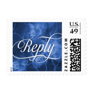RSVP Blue Watercolor Flowers Postage Stamp