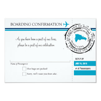 RSVP Boarding Pass TO Dominican Republic 3.5x5 Paper Invitation Card