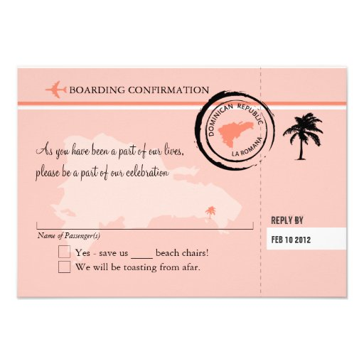 RSVP Boarding Pass TO Dominican Republic Personalized Announcements