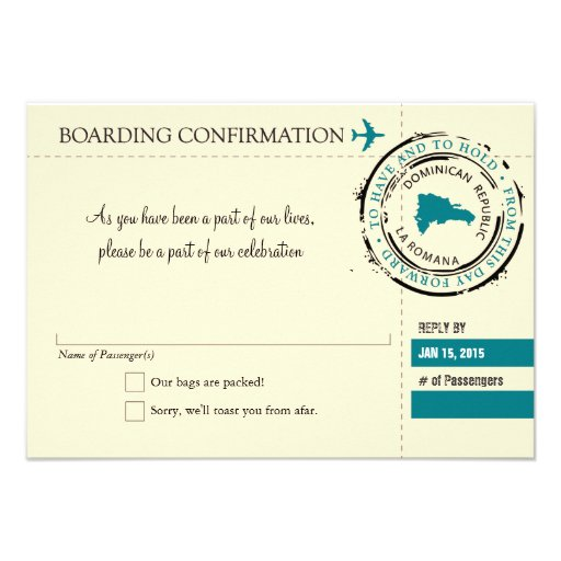RSVP Boarding Pass TO Dominican Republic Announcements